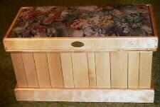 sweater sized birch chest, vented style, harvest tapestry