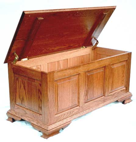 Cedar chest kit after you assemble and finish it. Large classic style, shown in oak.